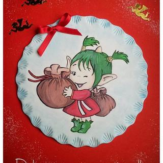 Plate Christmas sugar paste and hand painted