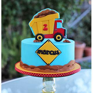 Fun little dump truck cake
