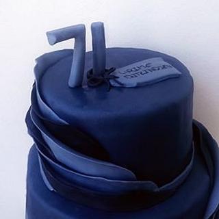 Darkblue  ruffles birthday cake