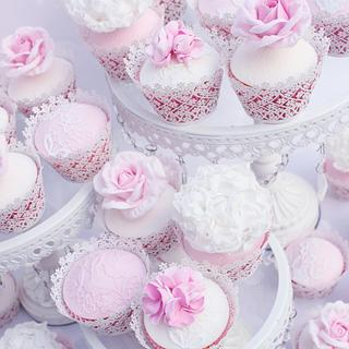 Rose ,lace and peony cupcakes