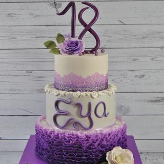 PURPLE AND RUFFLES 18TH BIRTHDAY CAKE
