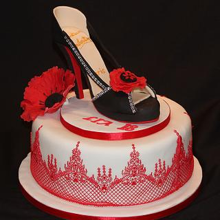 My latest Christian Louboutin gumpaste shoe with sugarlace and poppy flower