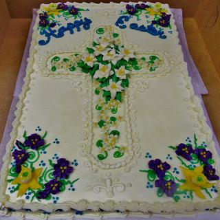 Easter Cross cake w/Easter lilies, & spring flowers in all buttercream.