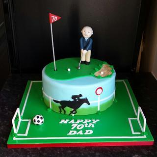Golf , horse racing, football cake x