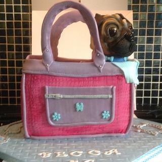 Pug dog handbag cake