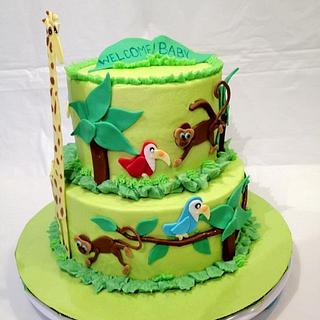 Jungle Theme Baby shower - Cake by Dawn Henderson