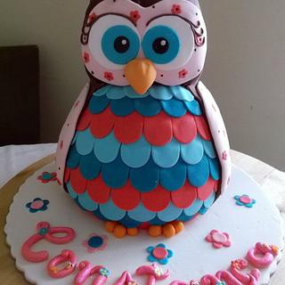 Owl 3D cake, cookies and cupcakes