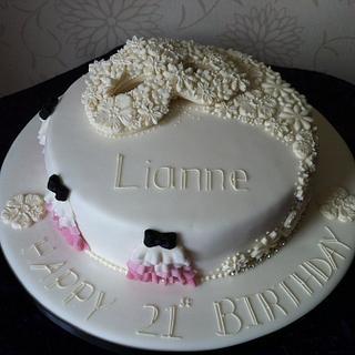 Lace mask cake