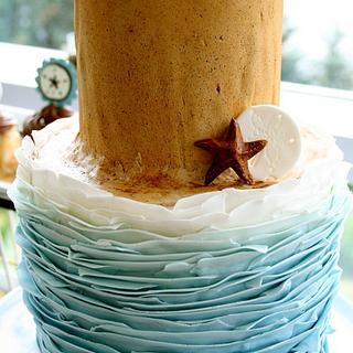 Ruffle Beach Cake