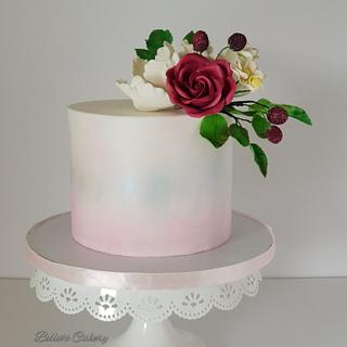 Water colour cake with sugar flowers!