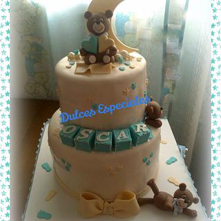 Tarta ositos Bautizo. Christening cake bears - Cake by mary