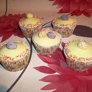Easter Cupcakes - sprinkles and chocolate eggs.