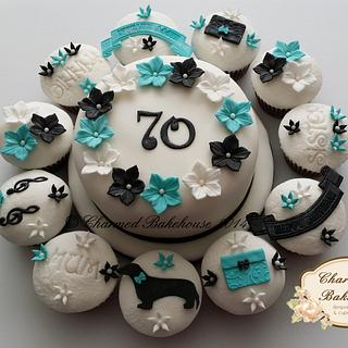 70th birthday cake & matching cupcakes - Cake by Charmed Bakehouse