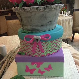 Flowerpot gift box cake