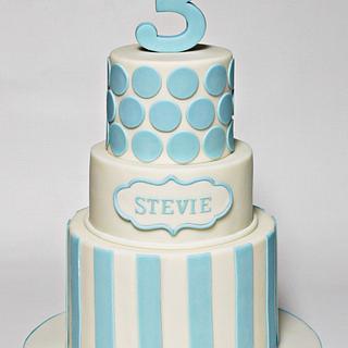 Blue on Blue Birthday Cake