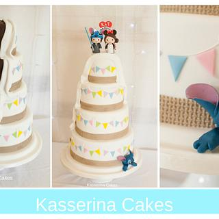 Half and half / his and hers wedding cake with bunting and stitch
