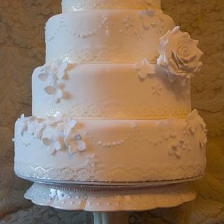 Delicate Ivory Wedding Cake - Cake by Floriana Reynolds