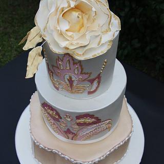 Leaf Motif Wedding Cake