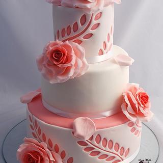Pink white wedding cake - Cake by Marie