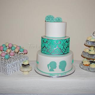 Silver Mint Pom Pom Wedding Cake - Cake by Torteneleganz