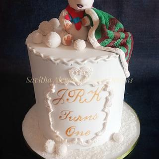 Polar bear 1st birthday cake