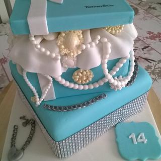 Tiffany Box birthday cake - Cake by Combe Cakes