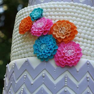 Happy chevron wedding cake