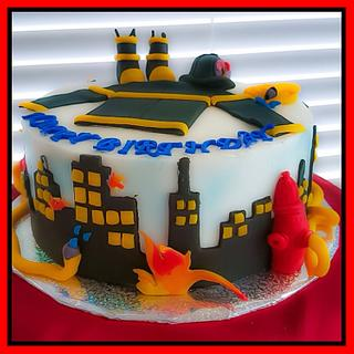 Firefighter theme cake
