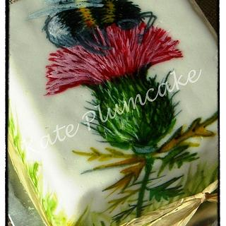 Thistle free hand painted