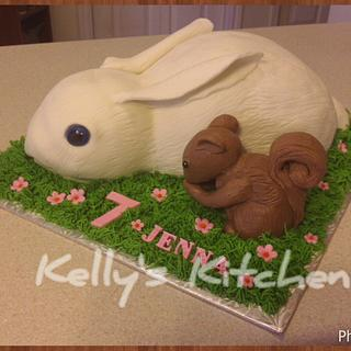 Bunny & squirrel birthday cake