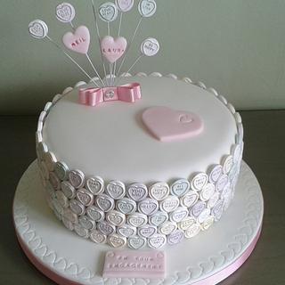 'Sweetheart' Engagement cake - Cake by Louise Hodgson