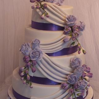 Freesia and Rose Swag Wedding cake