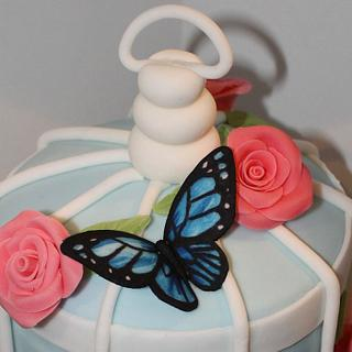 Vintage Birdcage Cake  and cupcakes with hand cut and hand painted Butterflies - Cake by Cake Creations By Hannah