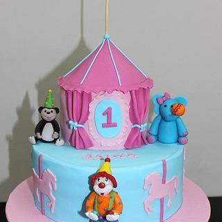 Carnival, Circus, Animals, Joker theme fondant cake for 1st birthday