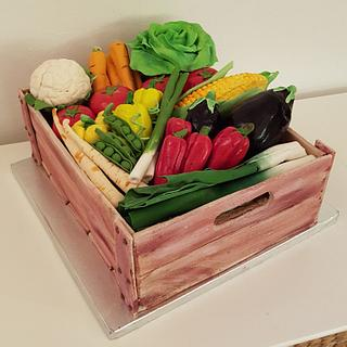 wood crate cake with vegetables
