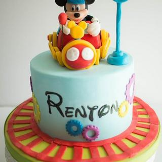 Mickey Mouse Train Conductor Birthday Cake