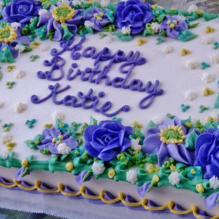 Buttercream majestic purples floral birthday cake