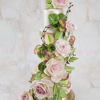 Floral and Foliage Wedding Cake