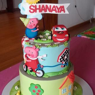 McQueen, Peppa and Jeorge cake - Cake by Couture cakes by Olga