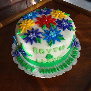 Flowered Anniversary Cake