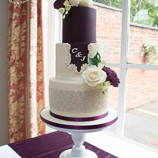 Mulberry & cream wedding cake