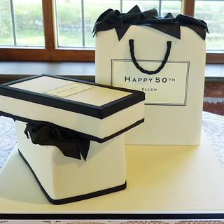 Jo Malone gift box and bag cake - Cake by Angel Cake Design