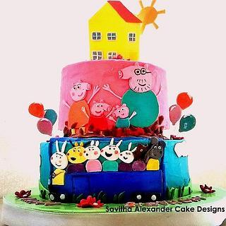 Peppa Pig birthday cake - Cake by Savitha Alexander