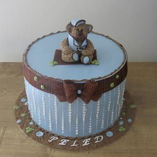 A Burlap Bow and A Teddy in Blue