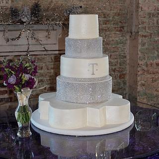 Quatrefoil Bling Wedding cake