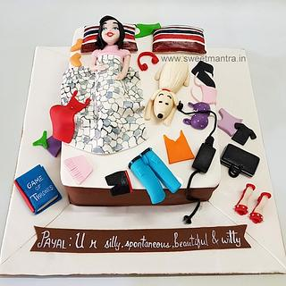 Messy Bed shape cake for girls birthday