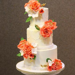 Coral and White  - Cake by Signature Cake By Shweta