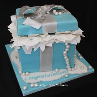 Tiffany box with silver ribbon