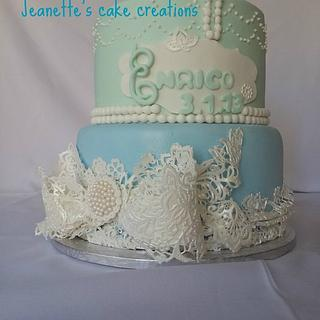 Christening cake -ribbon enhanced with lace