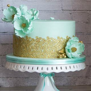 Wedding cake in tiffany